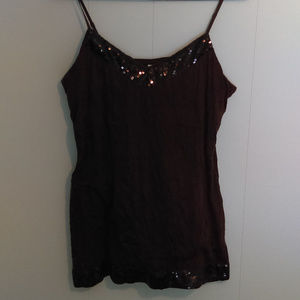 Cato Brown Thin Strap Top with Brown Sequins